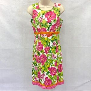 Pappagallo bold pink floral spring sheath dress